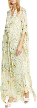 Diane von Furstenberg Hana Floral Print Silk Caftan Maxi Dress
