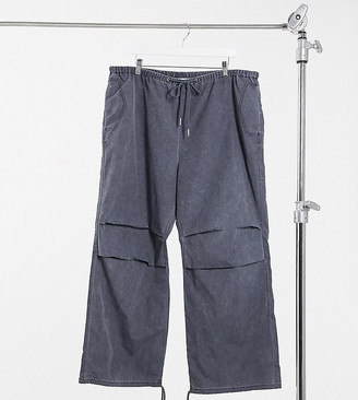 Collusion wide leg sweatpants with drawstring waistband in washed nylon