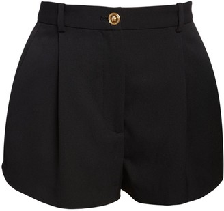Versace High Waist Wool Gabardine Shorts