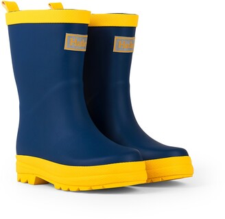 Hatley Classic Wellington Rain Boots Blue (Navy & Yellow) 9 UK