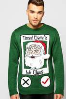 Boohoo Tinsel Date Christmas Jumper