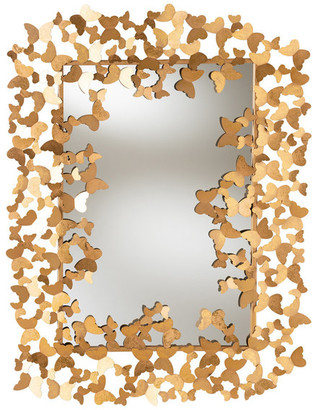 Baxton Studio Beline Antique Gold Butterfly Accent Wall Mirror