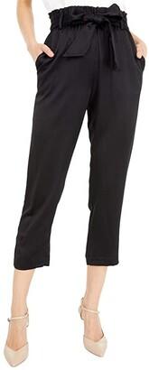 MICHAEL Michael Kors Hammered Satin Paperbag Pants (Black) Women's Casual Pants