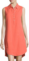 Joan Vass Button-Front High-Low Linen-Blend Shirtdress, Orange
