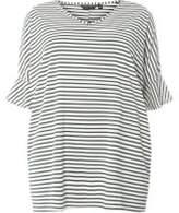 Dorothy Perkins Womens DP Curve Plus Size Green Striped Ruffle T-Shirt- Green