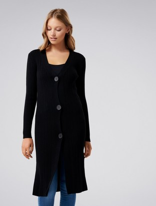 Forever New Elora Button-Up Longline Cardigan - Black - xxs