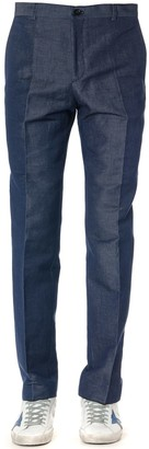 Calvin Klein Cotton Blend Denim Color Trousers
