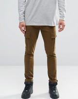 Asos Super Skinny Cargo Trousers In Khaki
