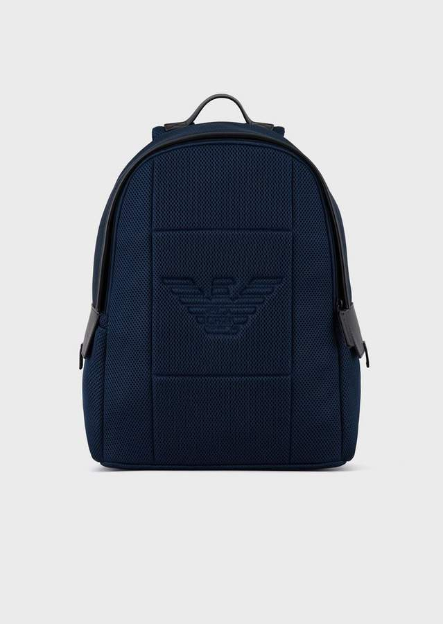 Emporio Armani Mesh Backpack With Embossed Eagle