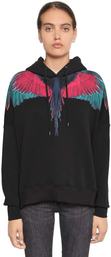 Marcelo Burlon County of Milan Wings Print Hooded Cotton Sweatshirt