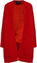 Derek Lam Red Boucle Collarless Swing Coat
