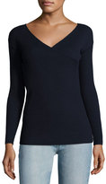 The Row Jinu Surplice Superfine Cashmere Sweater, Navy