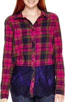 Arizona Long-Sleeve Lace-and-Plaid Shirt - Juniors