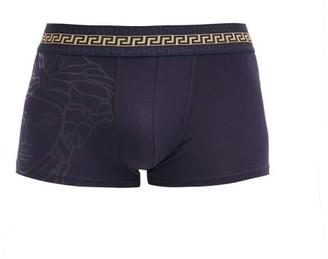 Versace Logo-jacquard Cotton-blend Jersey Boxer Briefs - Dark Blue