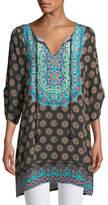 Tolani Sanaya Medallion-Print Easy Tunic/Dress