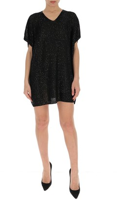 Saint Laurent Sequins V-Neck Dress