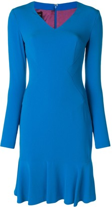 Talbot Runhof fitted V-neck dress