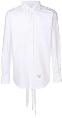Thom Browne Straight Fit Lace-up Oxford Shirt