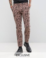 Noose & Monkey Super Skinny Suit Trousers In Floral