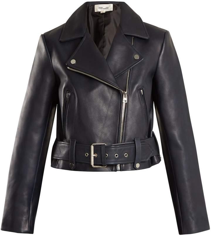 Diane von Furstenberg Cropped leather biker jacket