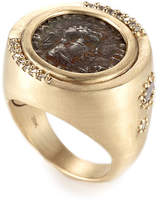 Coomi Antiquity 20k Two-Sided Coin Ring with Diamonds
