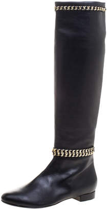 Le Silla Black Leather Chain Detail Knee High Boots Size 41