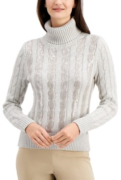 Charter Club Sequin-Stripe Turtleneck, Created for Macy's