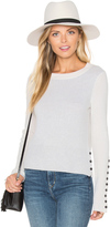 White + Warren Button Crew Neck Sweater