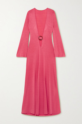 Dodo Bar Or Lin Embellished Cutout Stretch-jersey Maxi Dress - Fuchsia
