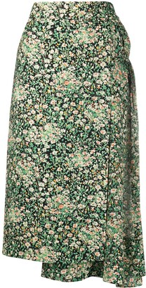 No.21 Floral-Print Ruched Detail Skirt