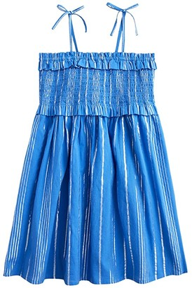 crewcuts by J.Crew Smocked Bodice Dress (Toddler/Little Kids) (Blue/Silver) Girl's Clothing