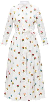 Carolina Herrera Floral-embroidered Belted Cotton-poplin Shirtdress - Womens - White Multi