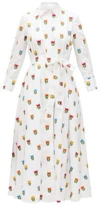 Carolina Herrera Floral-embroidered Cotton-poplin Shirt Dress - Womens - White Multi