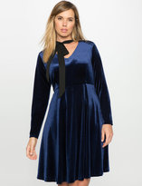 ELOQUII Plus Size Studio Velvet Fit and Flare Dress