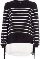 River Island Womens Black stripe knit tie side layered sweater