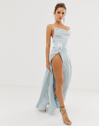 Asos DESIGN maxi dress with thigh split and cowl neck in satin