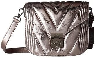 MCM Patricia Quilted Metallic Shoulder Small (Berlin Silver) Handbags