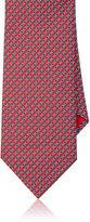 Brioni Men's Chain-Link-Print Silk Foulard Necktie-RED, BLUE