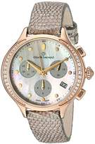 Claude Bernard Women's 'Code Chronograph' Swiss Quartz Stainless Steel and Leather Dress Watch, Color:Brown (Model: 10232 37RP NAIR)