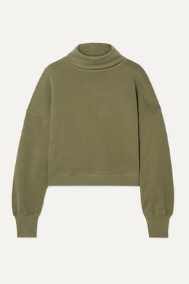 A Gold E Agolde AGOLDE - Cropped Cotton-terry Turtleneck Top - Army green