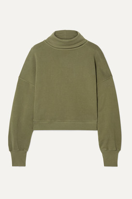 AGOLDE Cropped Cotton-terry Turtleneck Top - Army green