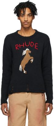 Rhude Black Bucking Horse Sweater