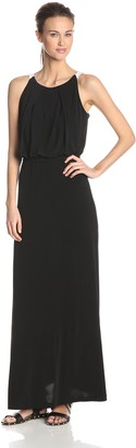 Andrew Marc Women's Halter Neck Bouson Color Block Maxi Dress