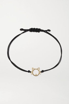 Yvonne Léon 9-karat Gold, Silk And Diamond Bracelet