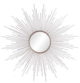 "Patton Wall Decor 36""x36"" Rays Sunburst Metal Framed Decorative Wall Mirror Champagne"