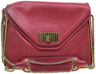 Chloé Red Pebbled Leather Medium Sally Flap Shoulder Bag
