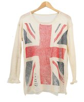 BY&M British Flag Pattern Sweater Loose Frayed Jumper Knit Pullover Sweatshirt