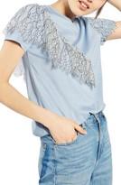 Topshop Women's Lace Ruffle Tee