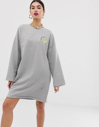 Asos Design DESIGN 'i peel good' embroidered sweat dress-Grey
