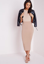 Missguided Tall Longline Jersey Midi Skirt Nude